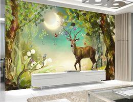 forbici di carta da parati 3d foresta Sconti 3d mural wallpaper Elk forest Personalizzato 3d landscape wallpaper soggiorno papel tapiz para pared moderno