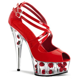 Wholesale High Heels Platform Rose - Valentine's Day Women Sexy Rose Flower Platform 15cm High Heels Sandals Night Club Party High-Heel Shoes Lady Sexy Crystal Sandals Shoe