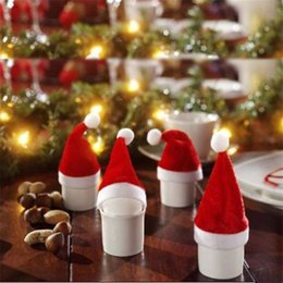 Wholesale Cups Hats Wholesalers - Red Santa Hat Cup Mini Santa Bottles Cover Christmas Gift XMAS Home Decoration Wine Bottle Cover