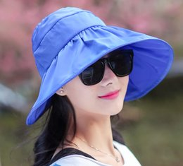 Visières solaire femme en Ligne-Summer Fashion Women Wide Brim Roll Up Vider Top Sun Beach Hat Anti-UV visières Cap Flex pliable couleurs