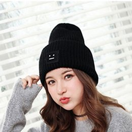 Wholesale Korean Ladies Winter Top - Korean Style Beanies Cap Brand New Thick Female Cap Wool Cute Smile Face Lady Winter Spring Autumn Knitted Hat top quality
