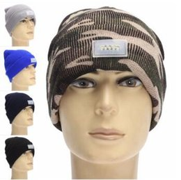 Wholesale Christmas Lights Hat - 21 Colors Winter Warm LED Light Beanies Hat Sports Beanie Knitted Cap Hunting Camping Running Hat Unisex Beanies Cap CCA5199 100pcs