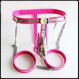 Wholesale Male Steel Chastity Belt Thigh - pink silicone stainless steel male chastity belt pants+thigh ring+anal plug bdsm bondage device sex prodcuts for men