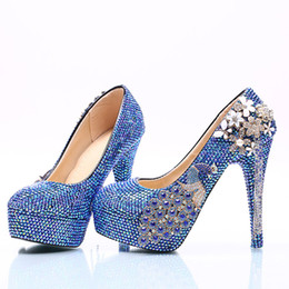Wholesale Blue Wedding Shoes For Bride - Royal Blue AB Crystal Wedding Dress Shoes with Phoenix Women High Heels for Party Rhinestone Bride Shoes Cinderella Prom Pumps