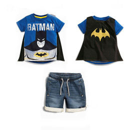 Wholesale Wholesale Childrens Cotton Tshirts - Cartoon Child Fashion Suit Kids Cotton Tshirts+Denim Shorts Sets Baby Childrens Clothing Summer Outfits 2 pcs