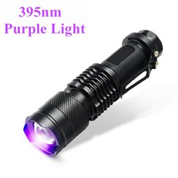 Wholesale Uv Work - Professional Fluorescent agent detection UV 395nm led flashlight torch lamp purple violet light of AA or 14500 battery