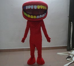 Wholesale Big Tooth Costume - sm0516 100% real photos of red big mouth mascot costume with different colours of teeth for adult to wear for sale