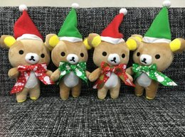 Wholesale Teddy Bear Stand - Cute Christmas Bear Plush Toys Children Stuffed Toy Christmas Tree Decoration 20cm Sit or Stand Bear Kids Gift Toys