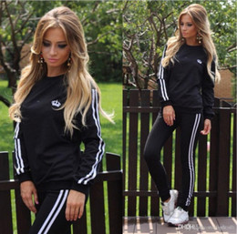 Wholesale Sport Clothes Lady - Leisure Sports Clothing Lady Sportswear Women Suit Set 2017 Fashion Female Girls Clothes Girls Long-Sleeved Casual Suit ouc072