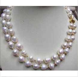 Wholesale Necklace Rows White Pearl - 2 ROW New Design 11-13mm White Baroque Natural South Sea Pearl Necklace 14K