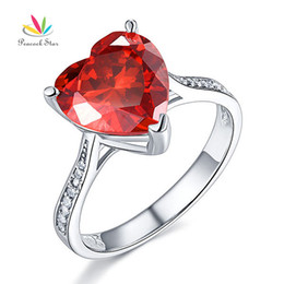 Wholesale Ruby Star Rings - Peacock Star 3.5 Heart Red Simulated Ruby Wedding Promise Engagement Ring Solid 925 Sterling Silver Jewelry CFR8217