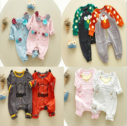 Wholesale Down Baby Romper Winter - 4 styles High quality cotton NEW style Kids autumn Winter Romper Cute cartoon animals long sleeve keep warm romper baby warm Climb clothing