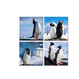 Wholesale Painted Penguin - Penguin Picture Canvas Prints Wild Animal Canvas Printing Wall Decor for Home and Office 4-Panel