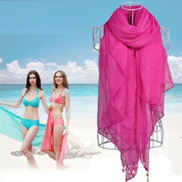 Wholesale Large Sarongs - 2017 New Brand Korean Spring Summer Bali Yarn Scarves Solid Color Curled Lady shawl Large Size Beach Sarong Towel For Women