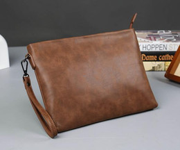 Wholesale Old Cell Phones - factory wholesale brand crazy horse leather bag Korean men hand bag retro old business hand envelopes simple atmospheric leather packag
