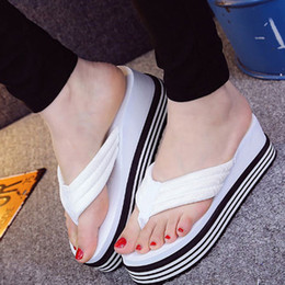 Wholesale Women Home Shoes - 2017 new summer fashion high-heeled women slippers beach shoes home slippers towels thick bottom flip flops