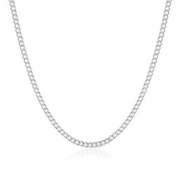 Wholesale Curb Chain Links - Good Gift 925 Sterling Silver 2MM Flat Curb Chains Necklace Fit All Pendant Necklace Mix Size 16-24inch