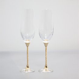 Wholesale Bar Decorations Cheap - 2017 cheap lead free crystal toasting wine glasses set gold stemware champagne flutes home and bar use drinking glass