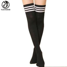 Wholesale Gray Cotton Thigh High Socks - Wholesale- YEJIA FASHION Sexy Women Autumn Winter Warm Over Knee Socks Stockings Casual Ladies Girl Cotton Striped Thigh High socks