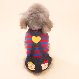 Wholesale sweater romper - Hipidog Pet Dog Cats Striped Black Pant Jumpsuit Puppy Clothes Apparels XXS-L Spring Winter Romper Costume Apparel