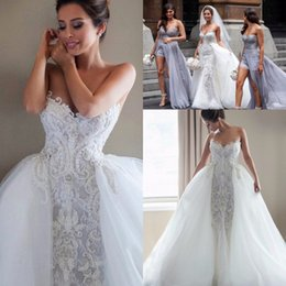 Wholesale Strapless Wedding Dresses Detachable - 2017 Graceful White A Line Bridal Gowns Sexy Strapless Appliques Detachable Train Wedding Dresses South African Sweep Train Wedding Vestidos