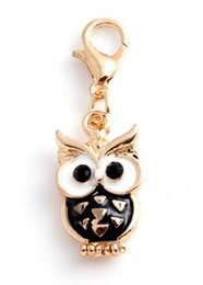 Wholesale Owl Necklace Charms - 20pcs lot Gold Plated Animal Owl Floating Pendant Charms With Lobster Clasp Fit For Chain Locket Necklace Making