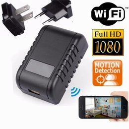 Wholesale video wifi adapter - WIFI 1080P Wall Charger Camera Full HD AC Adapter Plug DVR Video Recorder Wireless Network Security Camera Nanny Cam For Home Office