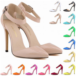 Wholesale Burgundy Womens Dress Shoes - Zapatos Mujer Fashion Womens Pointed Toe Patent High Heels Sexy Ankle Strap Sandals Pumps Ladies Party Shoes Women Size US 4-11 D0081