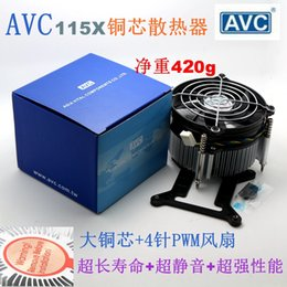 Wholesale Avc Fan Cpu - New Original AVC for Intel 1155 1156 1150 copper core radiator 4 Wires PWM Mute Computer i3 i5 CPU Cooler cooling fan