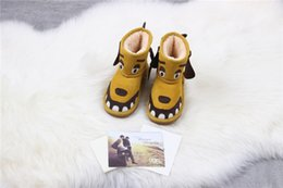 Wholesale Cartoon Girls Boots - Hot New Real Australia UG Girls Boys Warm Winter Sheepskin Flat Shoes Bailey kids Snow Boots Toddler shoes Little Kids cute monsters