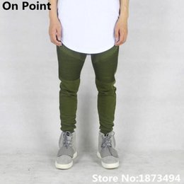 Wholesale Usa Pants - Wholesale-USA size Hip Hop streetwear clothing mens olive green biker sweatpants pleated skinny joggers tapered slim fit pants kanye west