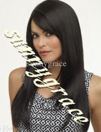 Wholesale Nice Lace Front Wigs - Nice looking Brazilian straight hair full lace wig natural color human hair in stock with strap at back ---sunnygrace