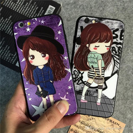 Wholesale Wholesale Tower Boxes - Luxury Phone Case For iphone 7 6 6S 6Plus 7plus Cute Girl Cat Dog Eiffel Tower Phone Case with Retail Package Box