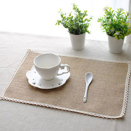 Wholesale Country Kitchen Sets - Wholesale- 8pcs set Jute Placemats Table Mats Kitchen Dining Country Natural Jute Decor table cloth