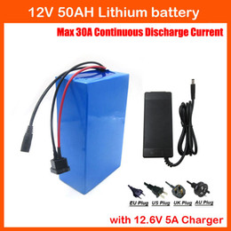 Wholesale 12v Lithium Ion Battery Packs - 350W High capacity 12V 50AH lithium ion battery pack 12V 50000 MAH rechargeable battery with 12.6V 5A charger 30A BMS