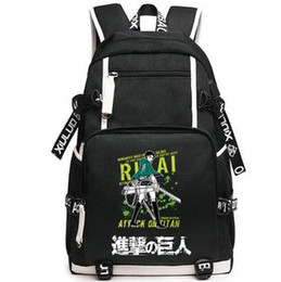 Wholesale Black Anime Characters - Levi Ackerman backpack Rivaille kachun daypack Rival wing schoolbag Anime rucksack Sport school bag Outdoor day pack