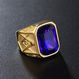 Wholesale Gemstone Ring Green - Hot selling 18K Gold filled Gemstone men ring stainless steel single stone rings masonic symbol jewelry