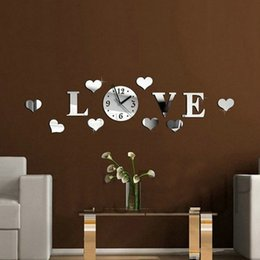 resin heart large Promo Codes - Wholesale- Mirror Wall Clock Large 3D Acrylic Mirror Heart Pattern Wall Clocks Home Decor For Living Room Modern Letter Heart Shape Clock