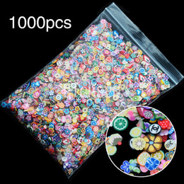 Wholesale Nail Clay Animal - Wholesale- Wholesale 1000 Pieces Bag Fimo Clay 3 Series Fruit Flower Animals Slice DIY 3D Nail Art Decorations Nails Sticker Design BRH0008
