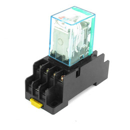 Wholesale Low Socket - 12V DC   24V DC Coil 4PDT Plug-in Mini Power Relay MY4NJ HH54P-L 14 Pins w DYF14A Base Socket