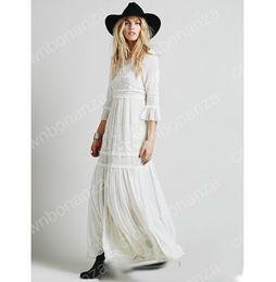 Wholesale Ethnic Tunics - Spring Summer Women Vintage Ethnic Embroidery Hippie Boho People Cotton Linen Tunic Short Loose Long Dresses robe longue