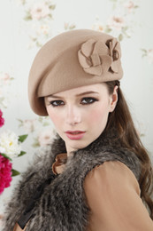 Wholesale French Red Beret - New Fashion Brand Winter Beret Hat For Women Beret Hat Female Beanie Cap Flower French Trilby Wool Soft Stewardess Hat