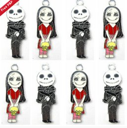 Wholesale Ghost Pendants - New 10 Pcs Set Cartoon Nightmare Before Christmas Ghost girl Ghost brother DIY Rhinestone Metal necklace Pendants A--62