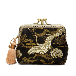 Wholesale chinese wholesale clutch bags - Chinese national wind coin purses bag handmake red-crowned crane hoop clutch bags national embroider coin case handbag
