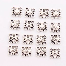 Wholesale Silver Link Connector - Antique Silver 4-Hole Connector Link Charms Pendant Fit Necklace Bracelets Jewelry DIY L1716 14.7x11.9mm