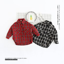 Wholesale Boys Shirt Pockets - 2017 INS NEW ARRIVAL Boys Girls Kids blouse Long Sleeve turn down collar plaid two pockets shirt kid causal shirt baby kid cool casual shirt