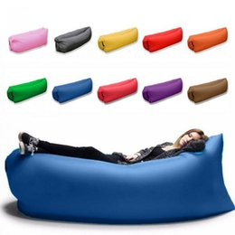 Wholesale Wholesale Use Furniture - Inflatable Lounger Air Sofa Chair with U-shape neck pillow and handy storage bag for Camping Hiking to use as mattress Camp Furniture