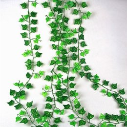 Wholesale Rattan Decor - 2.5m Artificial Ivy Leaf Garland Plants Vine Fake Foliage Flowers Home Decor Plastic Artificial Flower Rattan Evergreen Cirrus