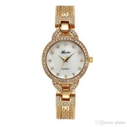 Wholesale Diamond Luxurious - Wristwatches Gold High-Grade Luxury Brand Trend Fashion Luxurious Round Dial Leisure Quartz Waterproof Original Womens Diamonds Watch