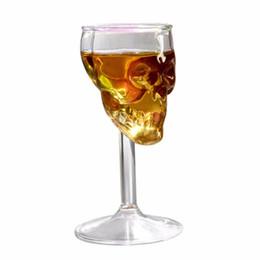2019 cabeza de cráneo vodka vasos de chupito Nueva Llegada 75 ML Copa de Cristal de Resistencia de Alta Temperatura Copa de Copas Transparente Noche Club Decorar Taza de la Taza